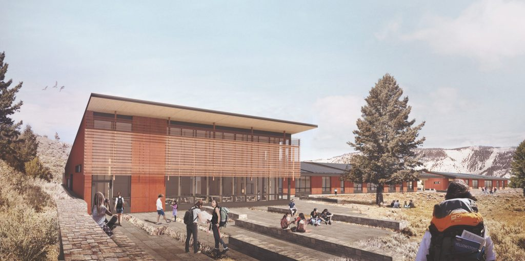 Yellowstone National Park Youth Campus daytime rendering of back of commons by Hennebery Eddy Architects