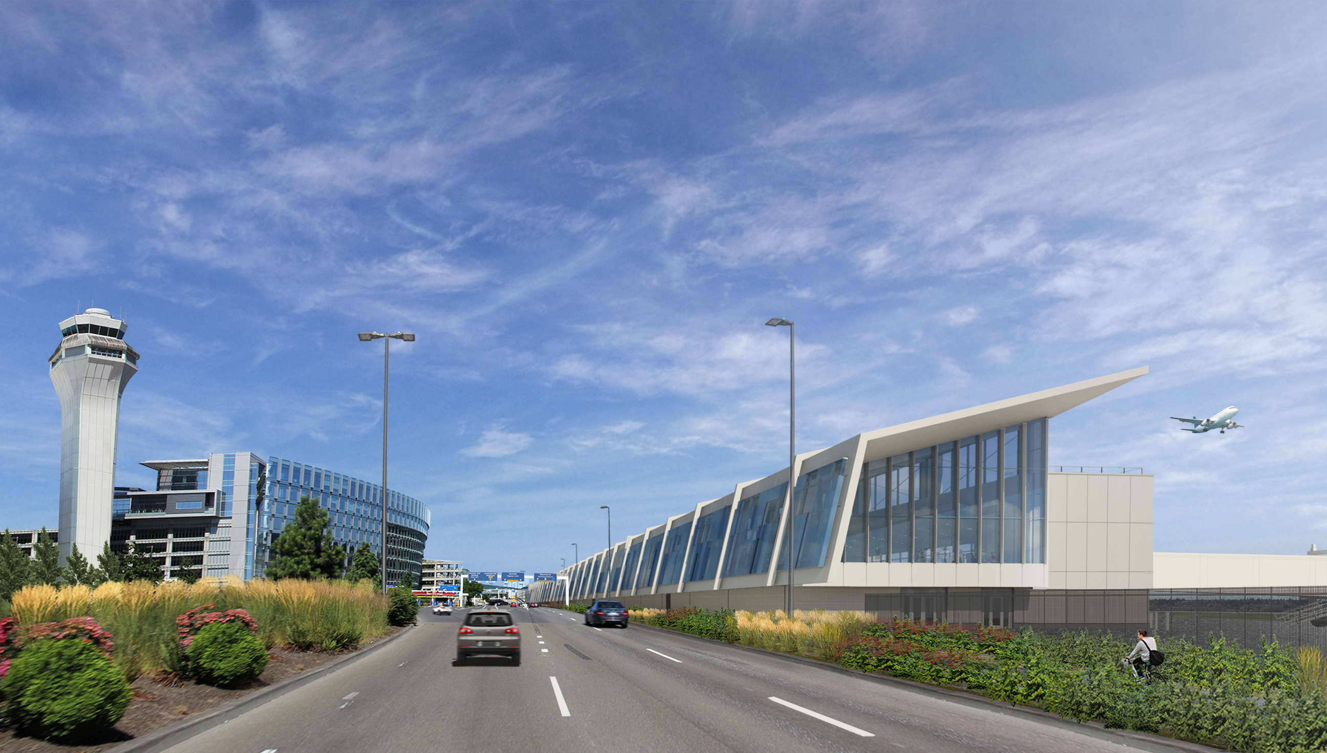 Rendered image by Hennebery Eddy Architects of PDX Terminal Balancing & Concourse E Extension, viewed from Airport Way