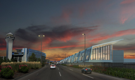 PDX Terminal Balancing & Concourse E Extension night rendering