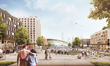 Rendering of plaza concept for Albina Vision in Portland, Oregon. Couple walking along open space with building on horizon.