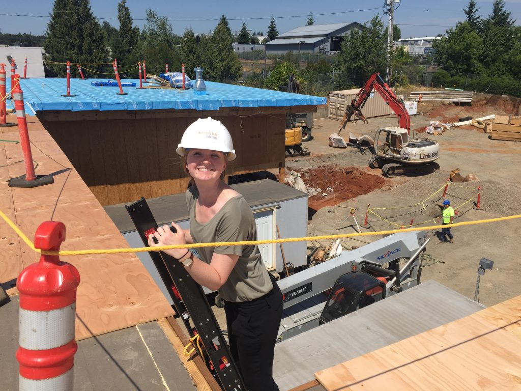 Historic preservation intern Shannon visits the construction site for Clackamas Fire District Station 16 - not a historic project, but definitely part of a well-rounded Hennebery Eddy internship!