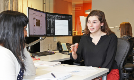 Net Zero Emerging Leaders Intern Madelaine Murray working at Hennebery Eddy Architects. The NZEL internship is funded from a grant from Energy Trust of Oregon.