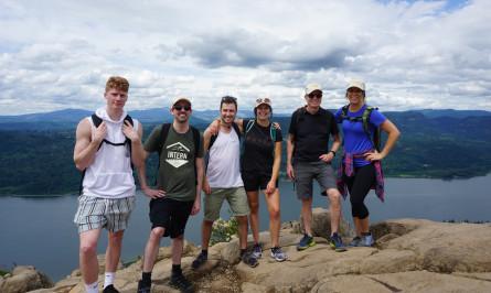Intern at Hennebery Eddy, Jordan Micham, hiking with fellow interns