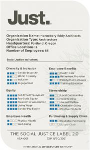 ILFI Just Organization Hennebery Eddy Architects Portland Oregon
