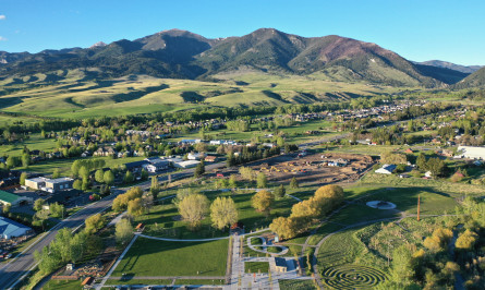 aerial image of housing development, with trees in the foreground, blue sky, and mountains in the background